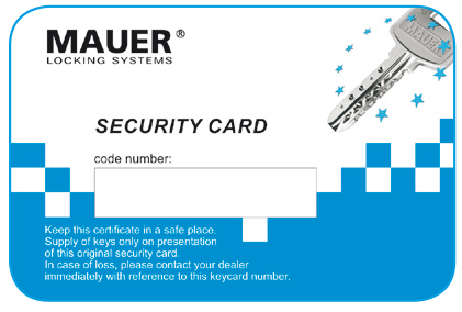 Potent cilindro europeo mauer security card